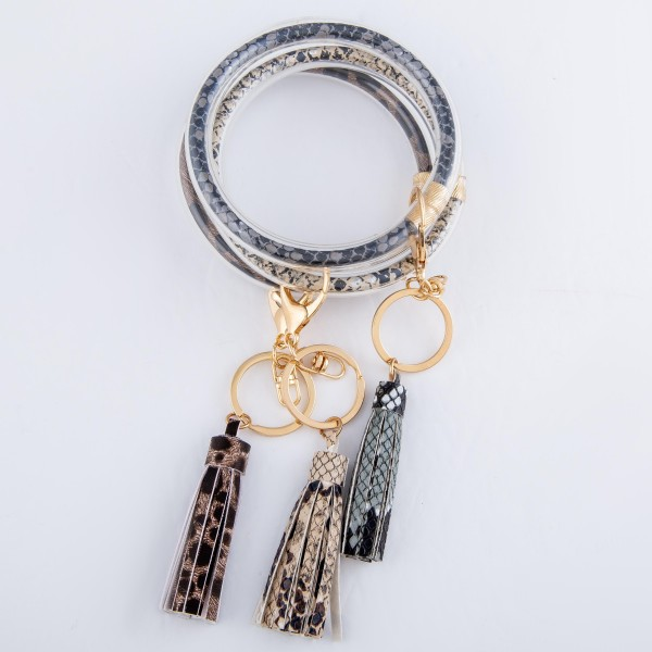 "Snakeskin Filled Tassel Key Ring.  - Holds Keys while wearing on wrist or bag - Approximately 4"" in diameter"