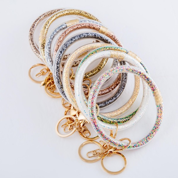 """Glitter Filled Key Ring Bangle Keychain Holder.  - Hold Keys while wearing on wrist or bag - Approximately 4"""" in diameter"""