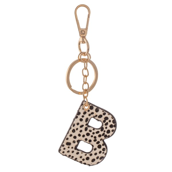 """Double-Sided Genuine Leather Cow Hide Cheetah Print Initial B Keychain.  - Initial Approximately 2""""  - Approximately 5"""" L in all"""