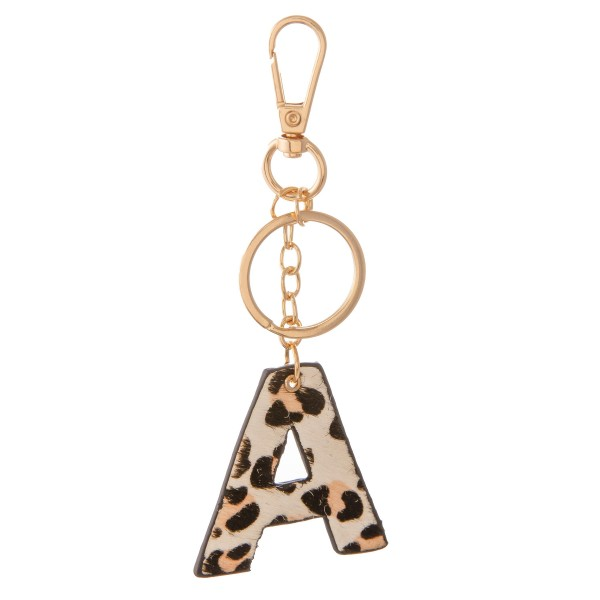 """Double Sided Genuine Leather Leopard Print Initial KeyChain.  - Initial approximately 2""""  - Approximately 5"""" L"""
