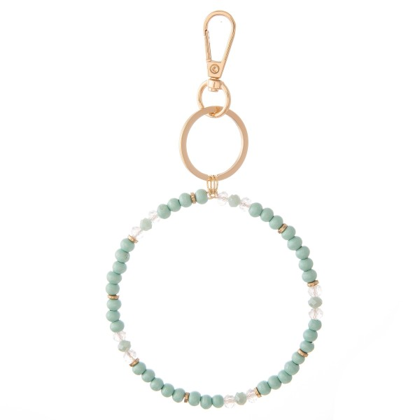 """Wood & Faceted Beaded Key Ring Bangle Keychain Holder.  - Holds keys while wearing on wrist or bag - Approximately 3.5"""" in Diameter"""