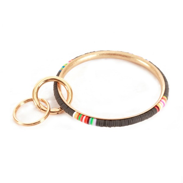 "Multicolor Spacer Beaded Key Ring.  - Hold Keys while wearing on wrist or bag - Approximately 3"" in diameter"