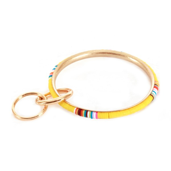"Multicolor Spacer Beaded Key Ring Bangle Keychain Holder.  - Hold Keys while wearing on wrist or bag - Approximately 3"" in diameter"