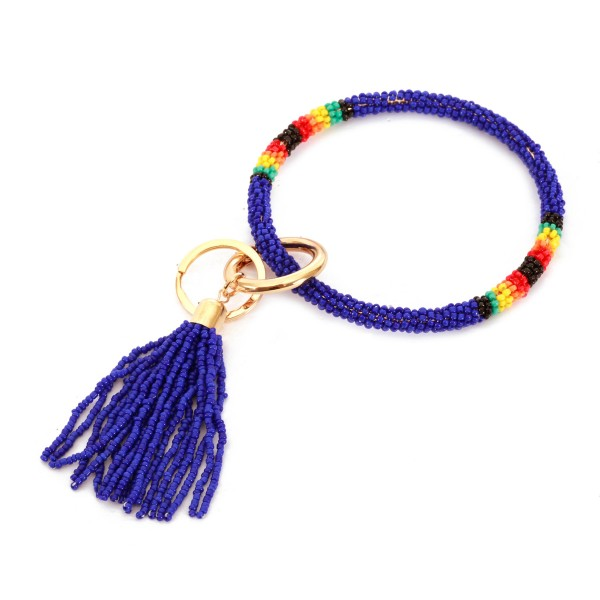 "Seed Beaded Tassel Key Ring.  - Hold Keys while wearing on wrist or bag - Approximately 4"" in diameter"