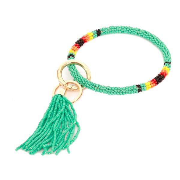 """Seed Beaded Tassel Key Ring Bangle Keychain Holder.  - Hold Keys while wearing on wrist or bag - Approximately 4"""" in diameter"""