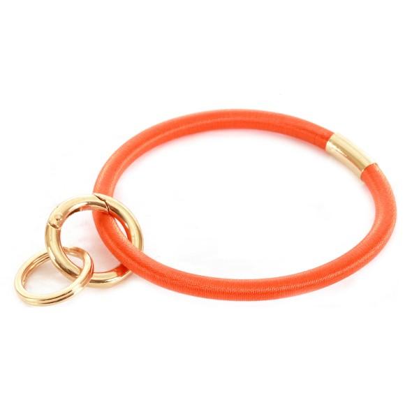 "PonyTail Like Key Ring Bangle Keychain Holder.  - Hold Keys while wearing on wrist or bag - Approximately 3"" in diameter"