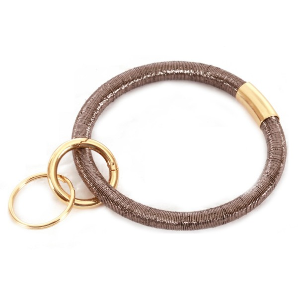 "Ponytail Like Key Ring Bangle Keychain Holder.  - Hold Keys while wearing on wrist or bag - Approximately 3.5"" in diameter"