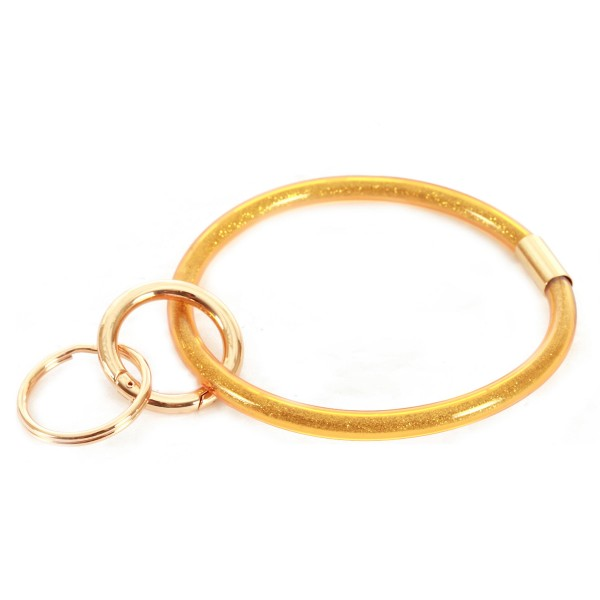 """Glitter Filled Key Ring Bangle Keychain Holder.  - Hold Keys while wearing on wrist or bag - Approximately 3"""" in diameter"""