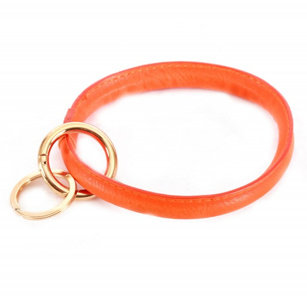 "Solid Color Faux Leather Key Ring.  - Hold Keys while wearing on wrist or bag - Approximately 3"" in diameter"