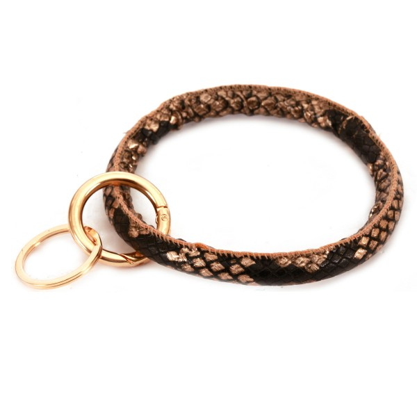 "Faux Leather Snakeskin Key Ring.  - Hold Keys while wearing on wrist or bag - Approximately 4"" in diameter"