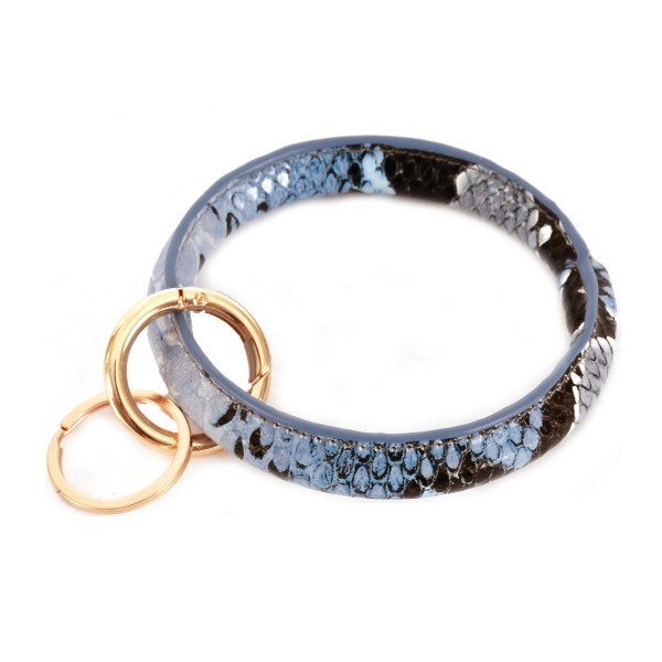 "Faux Leather Snakeskin Key Ring.  - Hold Keys while wearing on wrist or bag - Approximately 3.5"" in diameter"