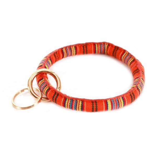 "Serape Key Ring Bangle Keychain Holder.  - Hold Keys while wearing on wrist or bag - Approximately 3.5"" in diameter"