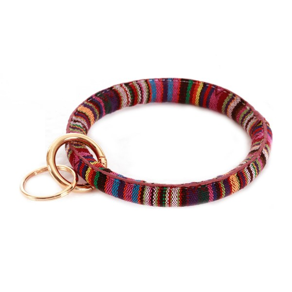 "Serape Key Ring.  - Hold Keys while wearing on wrist or bag - Approximately 3.5"" in diameter"