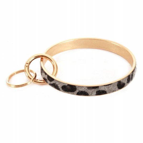 "Leopard Print Faux Fur Key Ring.  - Hold Keys while wearing on wrist or bag - Approximately 3"" in diameter"