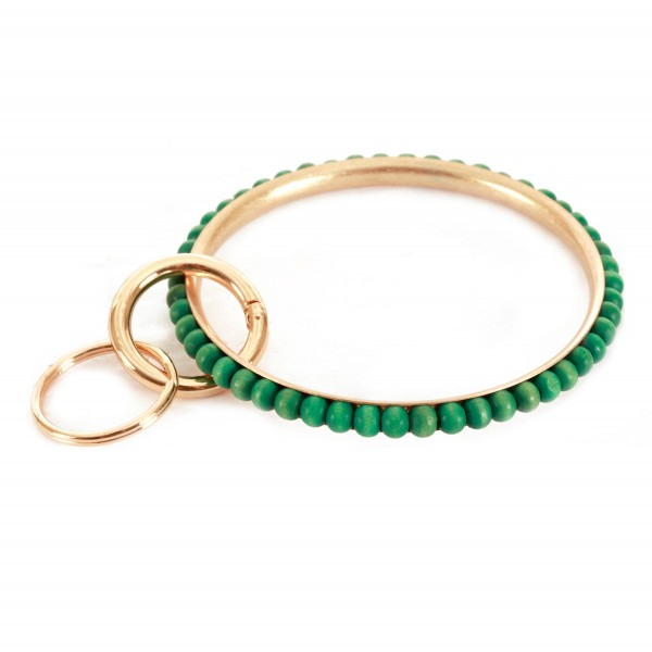 """Wood Beaded Metal Key Ring Bangle Keychain Holder.  - Hold Keys while wearing on wrist or bag - Approximately 3"""" in diameter"""