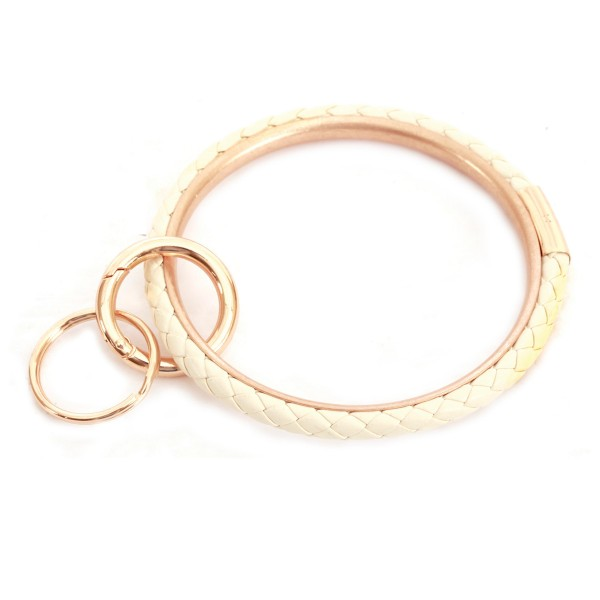 "Braided Faux Leather Key Ring.  - Hold Keys while wearing on wrist or bag - Approximately 3"" in diameter"