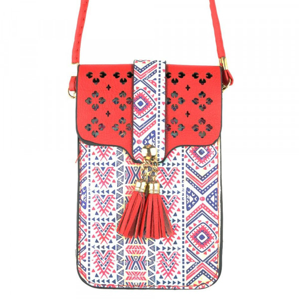 """Faux Leather Aztec Print Cell Phone Crossbody.  - One Inside Pocket - Clear Back Pocket - Flap Button Closure - Strap 24"""" L - Approximately 4"""" T x 3"""" W   - 100% PU"""