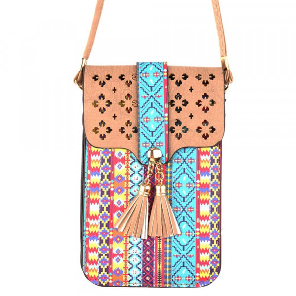 """Faux leather aztec print cell phone cross body with tassel detail.  - One inside pocket  - Clear back window - Flap button closure - Strap length approximately 24""""  - 100% PU"""