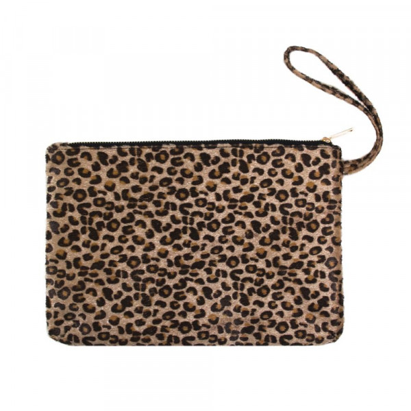 "Oversized Cheetah Print Wristlet Pouch.  - Zipper Closure - Approximately 12"" T x 8"" W"