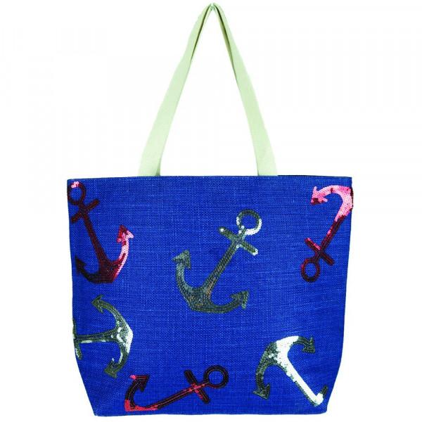 Wholesale nautical sequin beach bag Jute