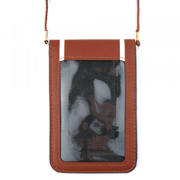 "Faux leather cross body bag with inside pocket and snap closure. Features a clear back pocket and football print. Approximately 4 3/4"" x 7 1/4"" in size. 100% PU"