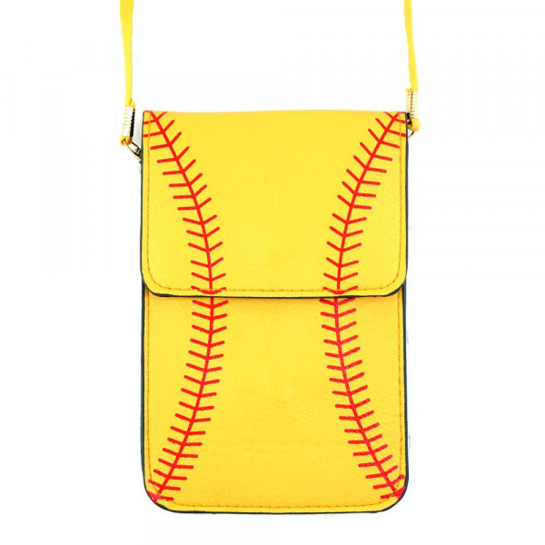 "Faux leather cross body bag with inside pocket and snap closure. Features a clear back pocket and baseball print. Approximately 4 3/4"" x 7 1/4"" in size. 100% PU"