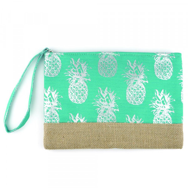 "Metallic Pineapple Print Canvas Travel Pouch Wristlet.  - Zipper Closure - Lined Inside - One Inside Open Pocket - 6"" Wristlet - Approximately 10"" x 7""  - 55% Cotton / 35% Polyester / 10% Jute"