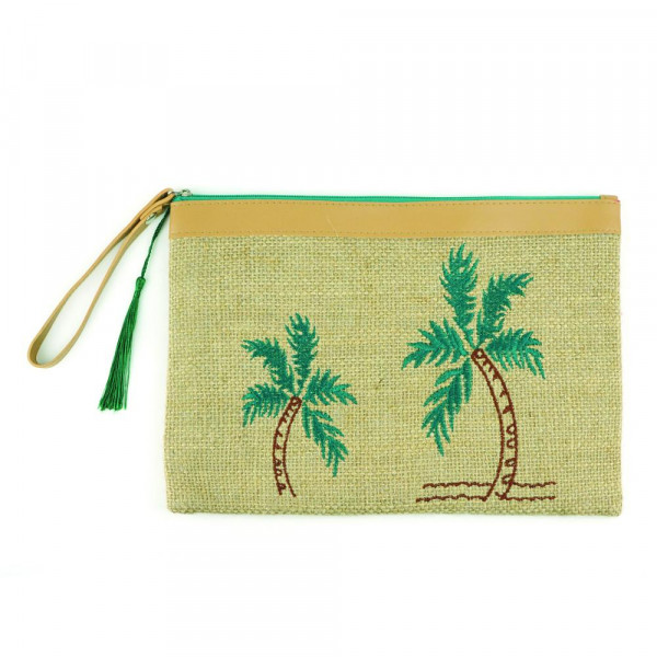 "Palm tree embroidered canvas travel wristlet.  - Approximately 7"" W x 5"" T - 95% Jute, 5% Polyester"