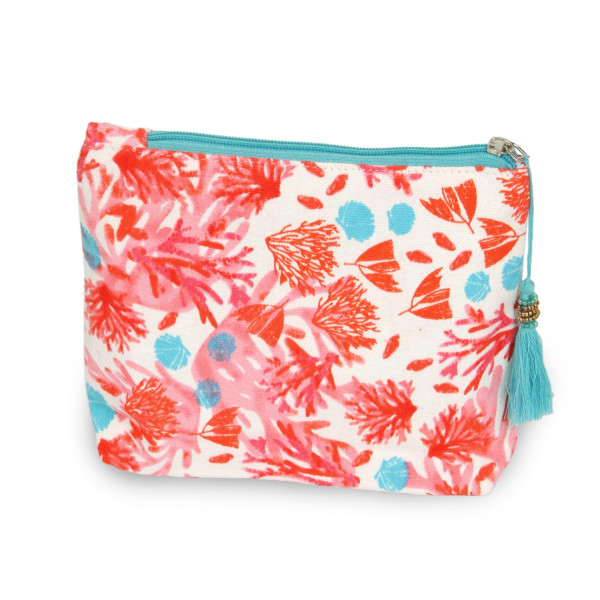 "Oriental floral travel pouch with tassel accent.  - Open inside - Zipper closure - Approximately 8"" W x 6"" T - 100% Cotton"