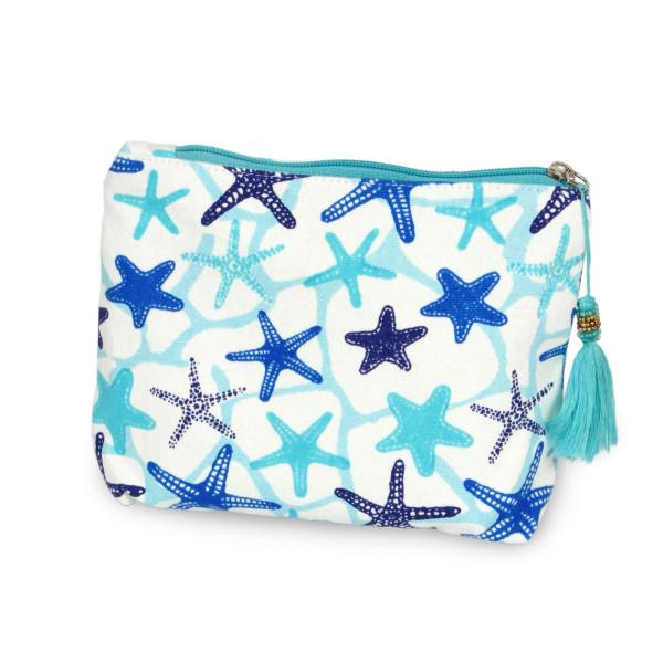 "Starfish Canvas Tassel Travel Pouch.  - Open inside - Zipper closure - Approximately 8"" W x 6"" T - 100% Cotton"