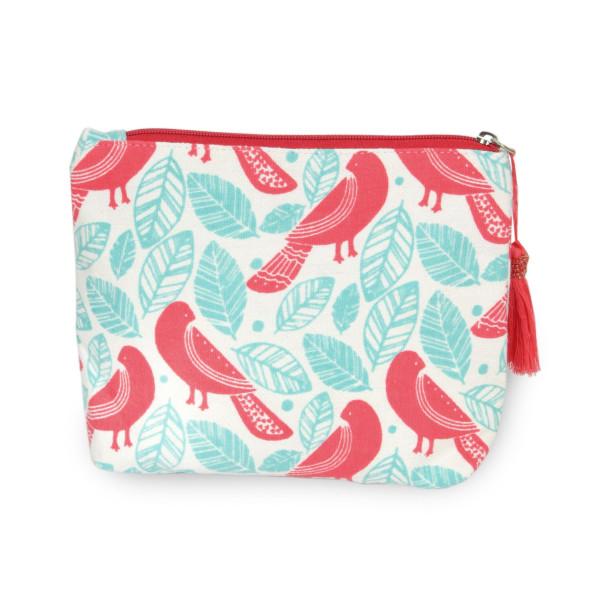 "Oriental Bird Canvas Tassel Travel Pouch.  - Open inside - Zipper closure - Approximately 8"" W x 6"" T - 100% Cotton"