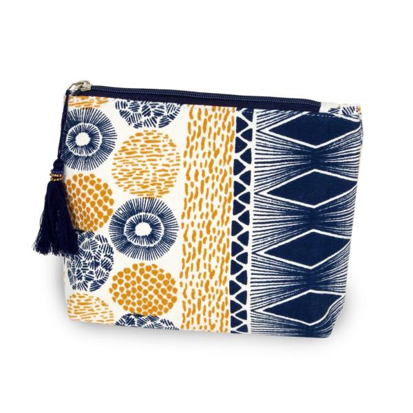 Wholesale geometric Canvas Tassel Travel Pouch Open inside Zipper closure W T Co
