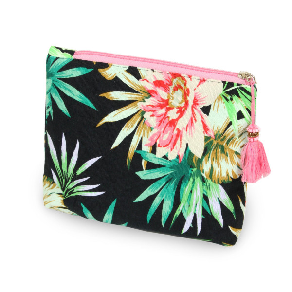 """Tropical florescent travel pouch with tassel accent.  - Open inside - Zipper closure - Approximately 8"""" W x 6"""" T - 100% Cotton"""