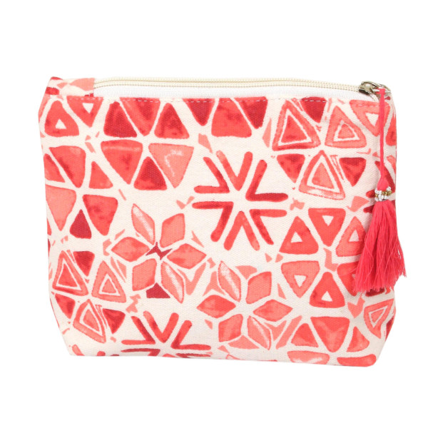 "Geometric Print Canvas Tassel Travel Pouch.  - Open inside - Zipper closure - Approximately 8"" W x 6"" T - 100% Cotton"