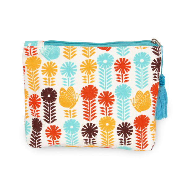 "Multicolor Flower Canvas Tassel Travel Pouch.  - Open inside - Zipper closure - Approximately 8"" W x 6"" T - 100% Cotton"