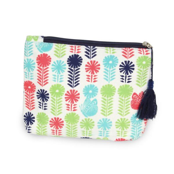 "Multicolor Flower Canvas Tassel Travel Pouch.  - Open inside - Zipper closure - Approximately 8"" W x 6"" T - 100% Cotton"