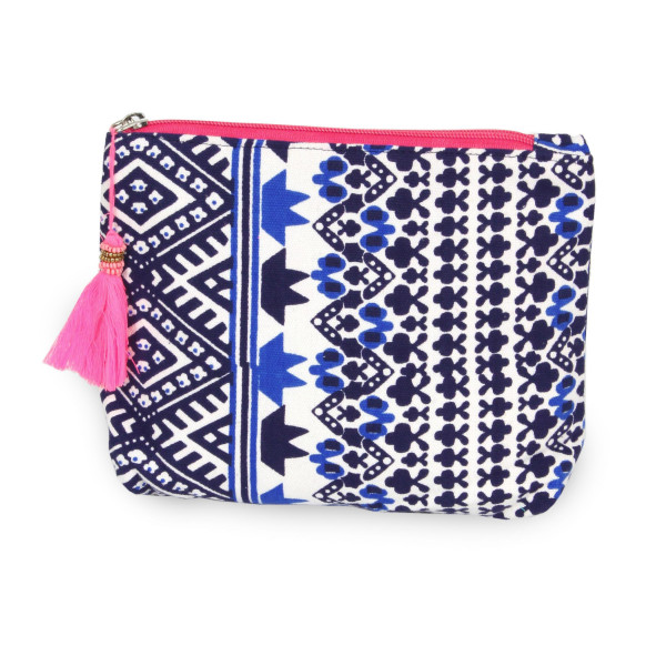 "Geometric Canvas Travel Tassel Pouch.  - Open inside - Zipper closure - Approximately 8"" W x 6"" T - 100% Cotton"