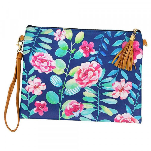 "Navy Floral Print Cross Body Clutch.  - Tassel Zip Closure - Exterior Material: PU - Interior Material: Polyester  - Hangs off shoulder 27""  - Approximately 10"" x 8"""