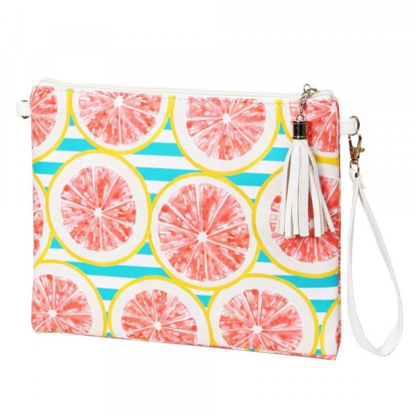 "Grapefruit Cross Body Clutch.  - Tassel Zip Closure - Exterior Material: PU - Interior Material: Polyester  - Hangs off shoulder 27""  - Approximately 10"" x 8"""