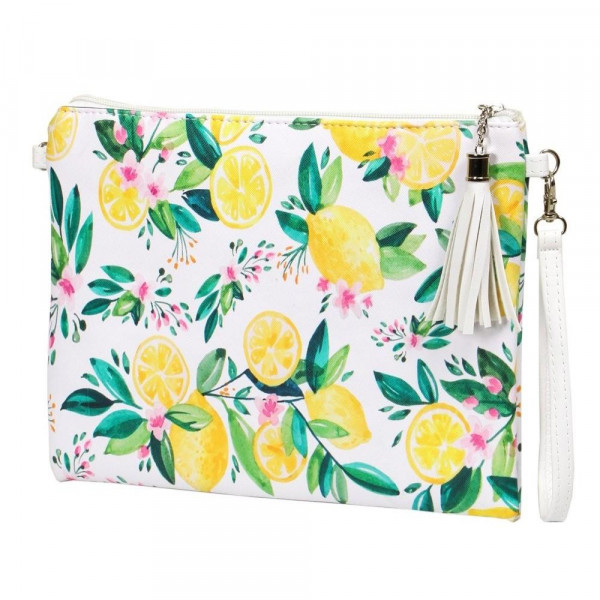 "Lemon Squeeze Cross Body Clutch.  - Tassel Zip Closure - Exterior Material: PU - Interior Material: Polyester  - Hangs off shoulder 27""  - Approximately 10"" x 8"""