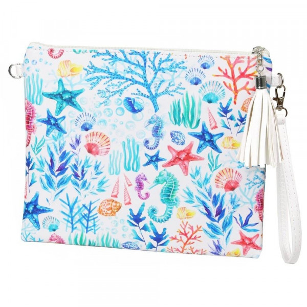 "Under the Sea Cross Body Clutch.  - Tassel Zip Closure - Exterior Material: PU - Interior Material: Polyester  - Hangs off shoulder 27""  - Approximately 10"" x 8"""
