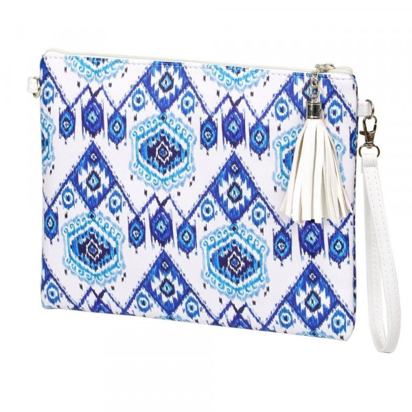 "Blue Geometric Print Cross Body Clutch.  - Tassel Zip Closure - Exterior Material: PU - Interior Material: Polyester  - Hangs off shoulder 27""  - Approximately 10"" x 8"""