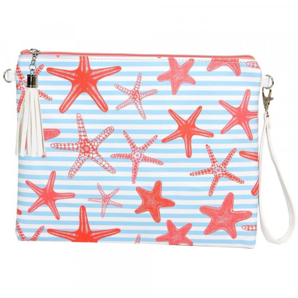 "Starfish Striped Cross Body Clutch.  - Tassel Zip Closure - Exterior Material: PU - Interior Material: Polyester  - Hangs off shoulder 27""  - Approximately 10"" x 8"""