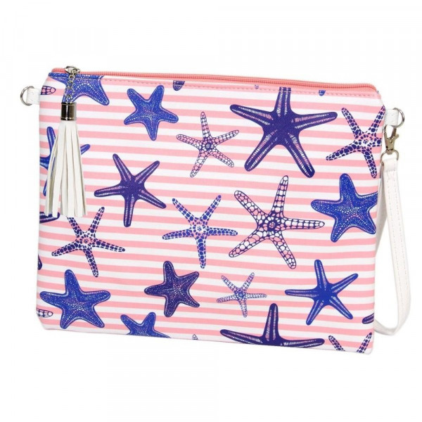"""Starfish Striped Cross Body Clutch.  - Tassel Zip Closure - Exterior Material: PU - Interior Material: Polyester  - Hangs off shoulder 27""""  - Approximately 10"""" x 8"""""""