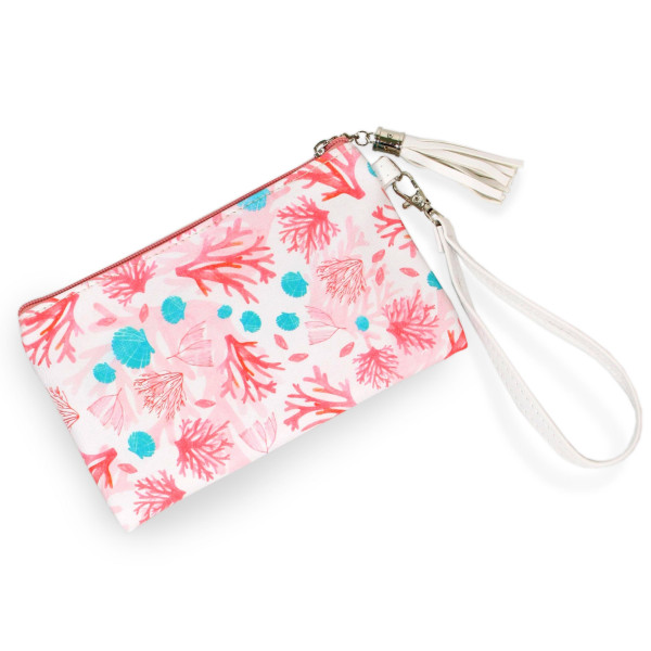 Wholesale coral Print Wristlet Tassel Pouch Zipper Closure Detachable Wristlet I