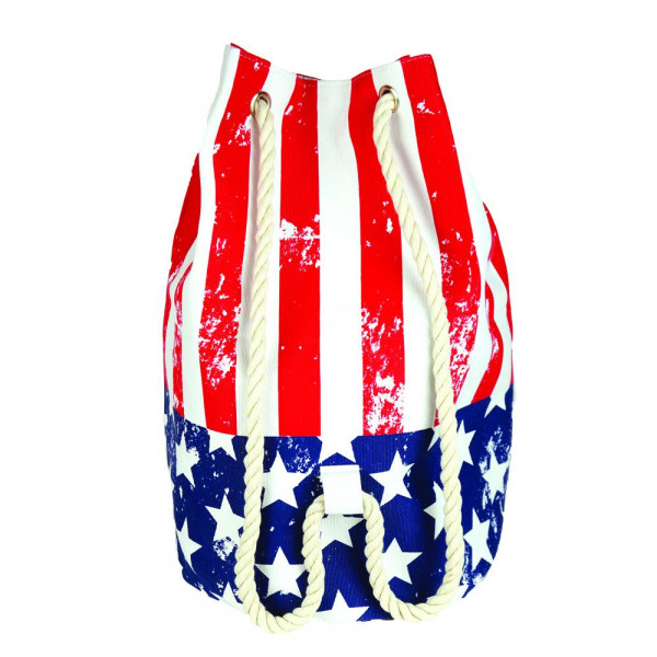 "Distressed American Flag tote bag with rope drawstring.  - Approximately 18.25"" x 18.25"" x 11"" in size"