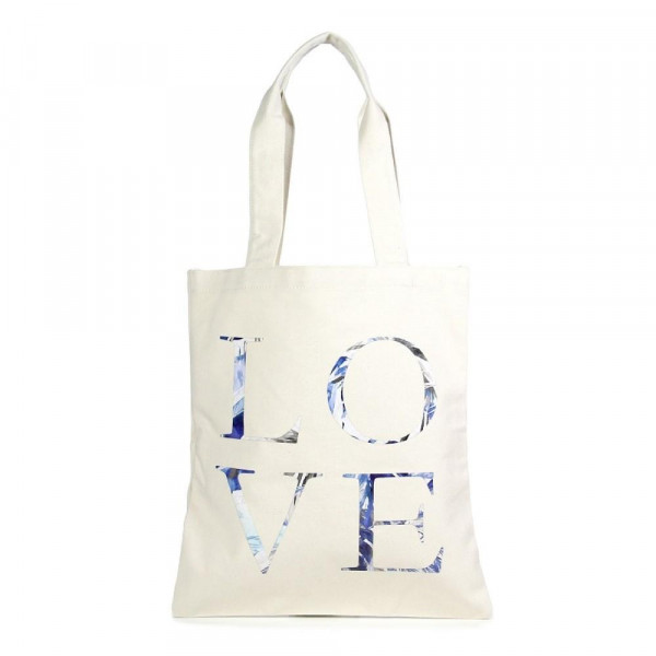 """Eco friendly bag with """"Love"""" message. 100% Cotton. 13"""" x 15"""" in length."""