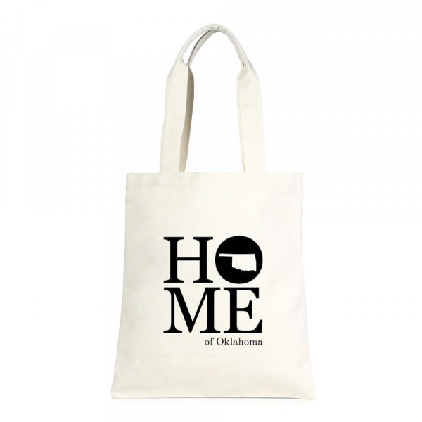 """Eco friendly bag with """"Home of Oklahoma"""" message. 100% cotton. 13"""" x 15"""" in length."""