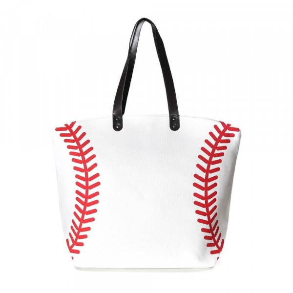 "Baseball tote bag is perfect for tailgating and monogramming.    - Open lined inside with pockets - Snap button closure - Approximately 21"" W x 16"" T - Handles 10"" L - 80% Cotton, 20% Polyester"