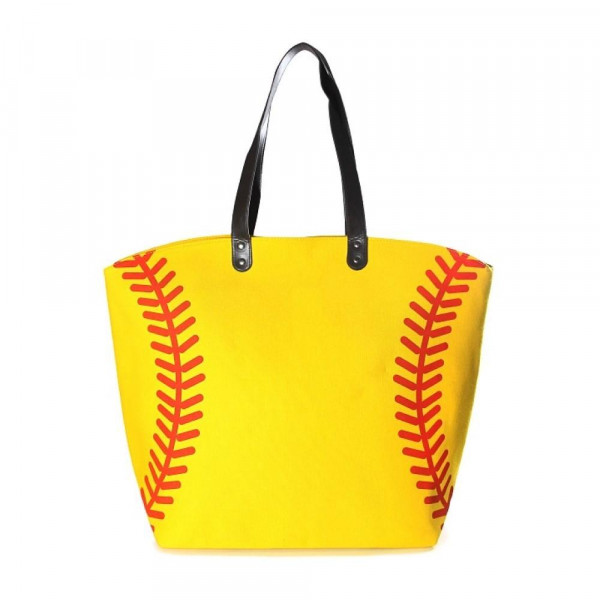 "Softball Tote Bag.   - Perfect for Game Day & Monogramming! - Snap Button Closure - Open Lined Inside - 1 Open Inside Pocket - 10"" Faux Leather Handles - Approximately 21"" W x 16"" T - 80% Cotton, 20% Polyester"